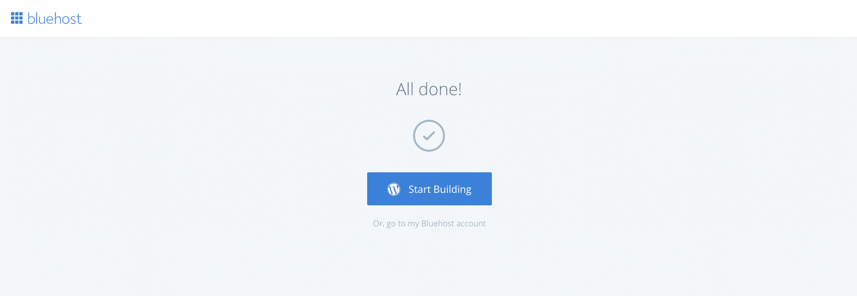 Click start building button to setup wordpress blog