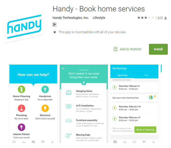 Handy book home services app